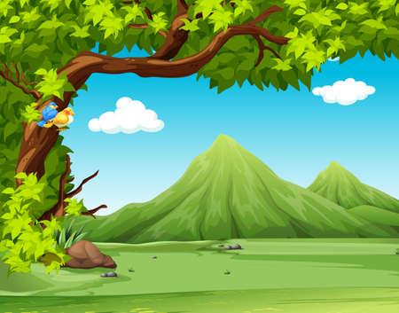 Escena de la naturaleza con montañas en el fondo ilustración
