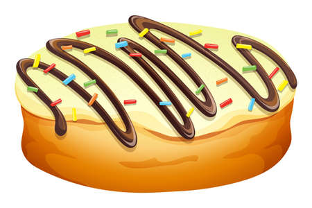 deep fried: Doughnut with cream and chocolate illustration Illustration