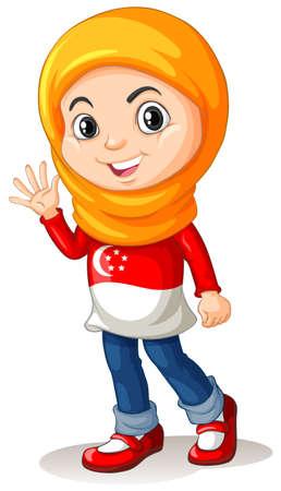 international students: Singapore girl with head cloth waving illustration Illustration
