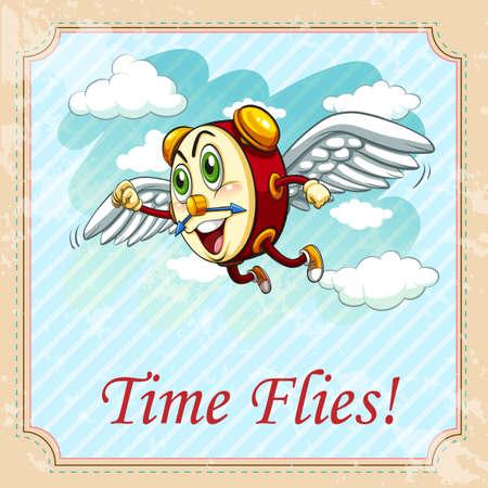 time flies: Old saying time flies illustration Illustration
