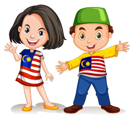 adolescent: Malaysian girl and boy greeting illustration