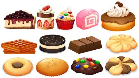 comida chatarra: Conjunto Postre con pasteles y galletas ilustración