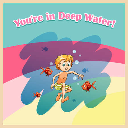 deep water: Idiom you are in deep water illustration