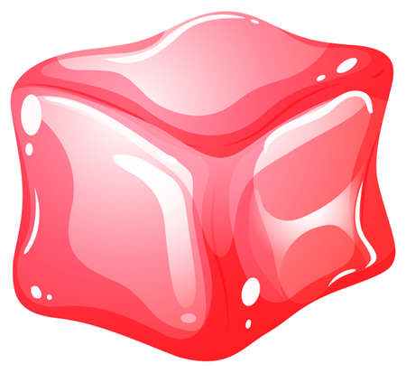 red cube: Red cube on white illustration Illustration