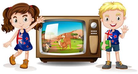 televisions: Australian girl and boy waving illustration