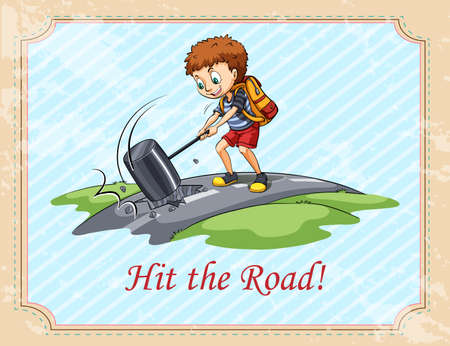 figurative: Old saying hit the road illustration