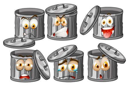 cesto basura: Papelera con expresiones faciales ilustración