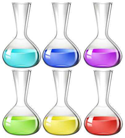 beakers: Liquid substance in glass beakers illustration