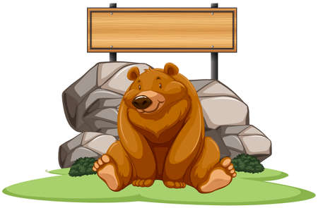 endangered: Grizzly bear sitting next to the sign illustration
