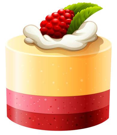 trozo de pastel: Pastel con crema de frambuesa y la ilustración