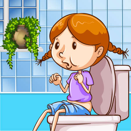 routine: Little girl using toilet illustration