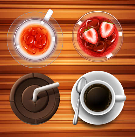 ice tea: Drinks in glass and cups illustration Illustration
