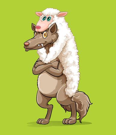 Wolf wearing sheep fur illustration