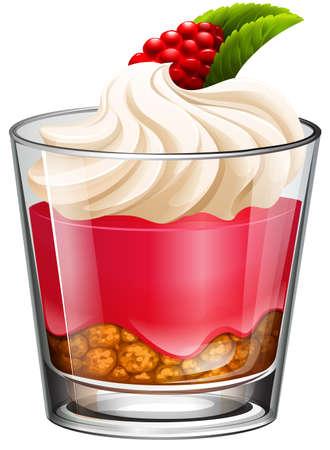 fastfood: Jelly với kem và rasberry minh họa Hình minh hoạ