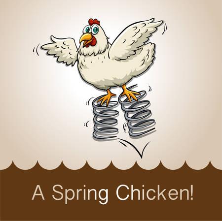 idiom: English idiom spring chicken illustration Illustration