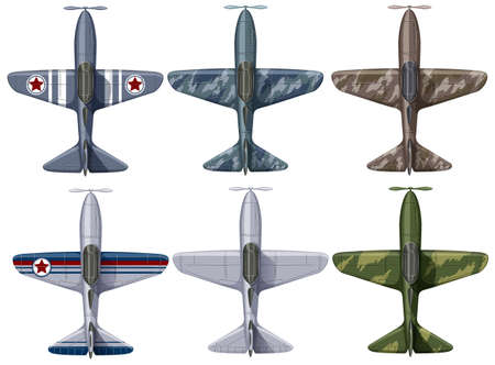 military aircraft: Different design of fighting planes illustration