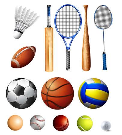 sport cartoon: Different kind of balls and bats illustration