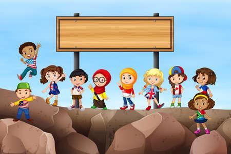 english culture: Children standing under the sign illustration Illustration