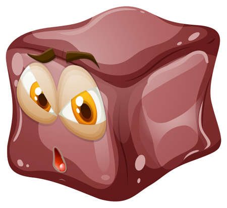jelly: Brown cube with face illustration