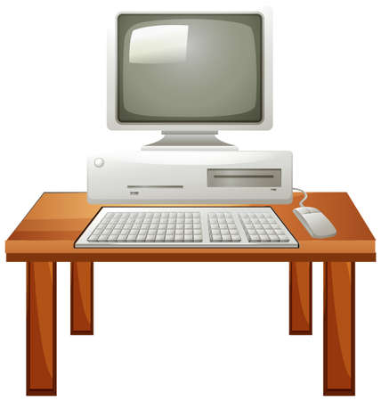 computer screen: Computer set on the table illustration