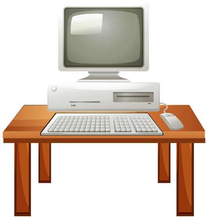 monitor de computadora: Conjunto de equipos en la ilustración de la tabla Vectores