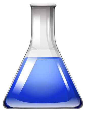 blue glass: Blue liquid in glass beaker illustration