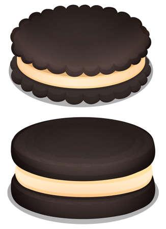 art piece: Dark chocolate cookie and cream illustration