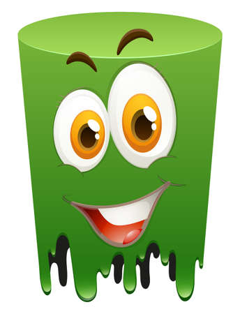 green face: Happy face on green tube illustration Illustration