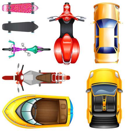 barco caricatura: Vista superior de diferentes ilustración de transporte