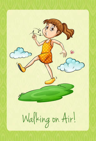 idiom: Idiom walking on air illustration