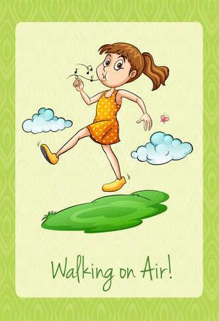 figurative: Idiom walking on air illustration
