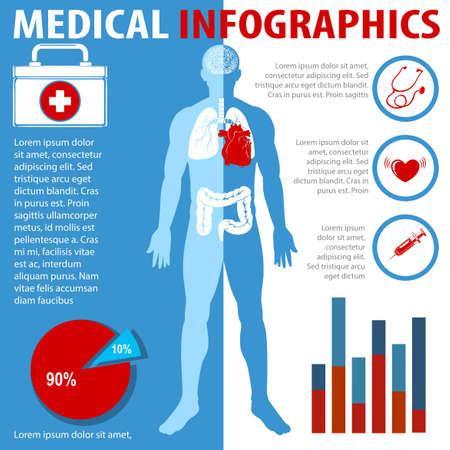estadistica: Infografía médica con el texto y la anatomía ilustración