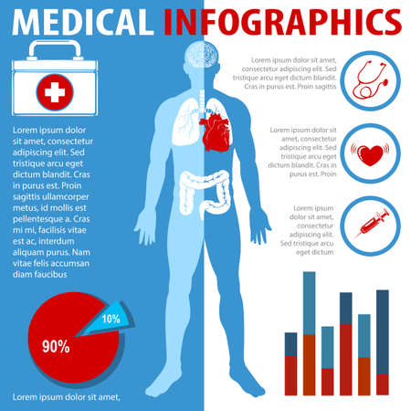 disease: Medical infographics with text and anatomy illustration Illustration