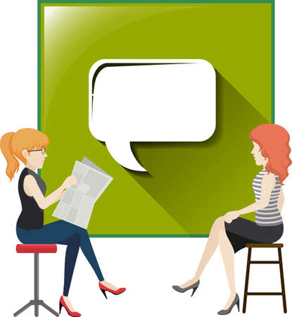 bubble speech: Two women with speech bubble illustration Illustration