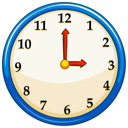 Rounc clock with red needles illustration Illustration