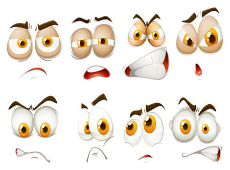 facial expression: Different emotions of facial expression illustration