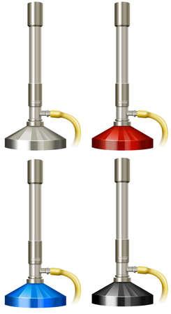 biology lab: Lab burners in four colors illustration