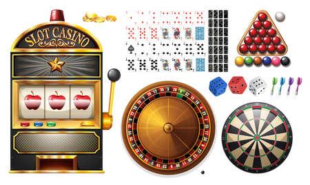 machines: Casino machines and games illustration