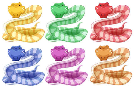 crawling creature: Different colors of snake illustration Illustration