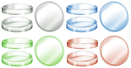 Petri dishes in different colors illustration