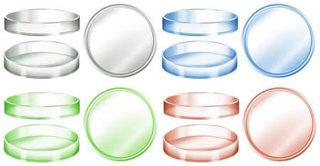 Petrischaaltjes in verschillende kleuren illustratie Stock Illustratie
