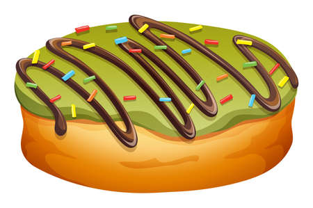 frosting: Doughnut with green frosting illustration