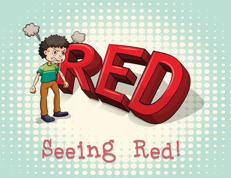 figurative: Old saying seeing red illustration Illustration