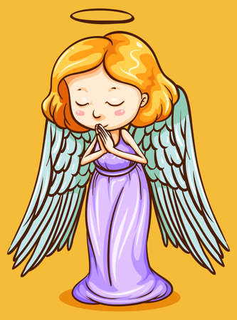 praying angel: Angel with wings praying illustration