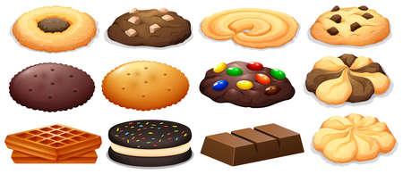chocolate cookie: Cookies y barra de chocolate ilustración