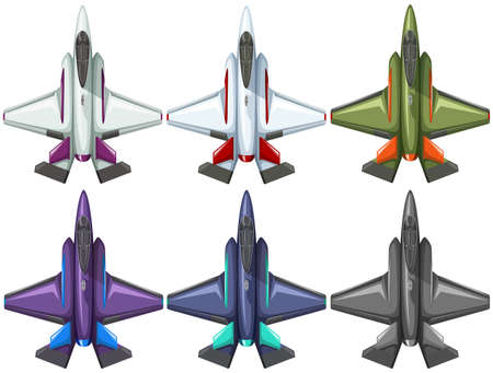 air force: Six different designs of fighting jet illustration Illustration