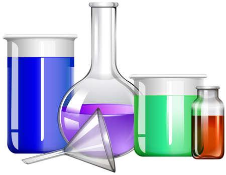 envases plasticos: Los envases de vidrio con líquido ilustración del interior Vectores