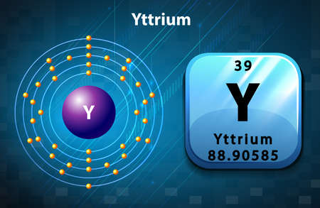 neutron: Periodic symbol and diagram of  Yttrium illustration