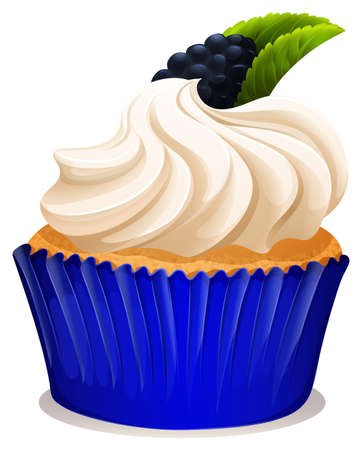 blackberry: Cupcake with cream and blackberry illustration