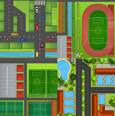 tennis stadium: Four landscapes from top view illustration